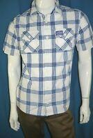 SUPERDRY  Taille M Superbe chemise manches courtes blanche carreaux bleus shirt
