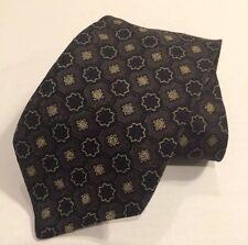 Gap Silk Neck Tie Navy Blue Grey Gray Print 56 Inch Short Necktie NWOT