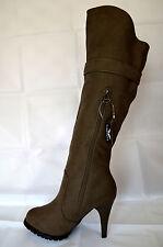 Damen Schuhe Stiefeletten Boots Stiefel Winterstiefel Gr.35-40 Khaki Neu A.13
