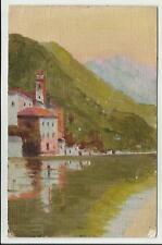 antica cartolina artistica dipinta a mano credo lago di lugano forse oria