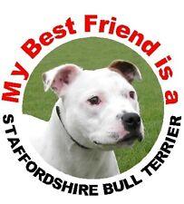 2 Staffordshire Bull Terrier Dog (White) Staffie Car Stickers By Starprint