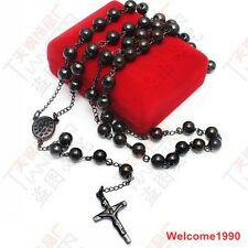 Black stainless steel JESUS Cross Rosary chain Necklace Fashion 8mm big 30''
