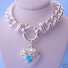 STERLING SILVER 10mm CURB NECKLACE BLUE CZ HEART CHARM