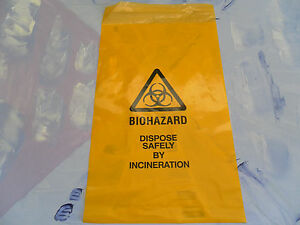 """Yellow Clinical Waste Biohazard Bags 14"""" x 8"""" Self Seal - Quantity 10"""