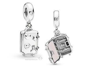 Genuine Pandora Charm Sterling Silver Suitcase Pink Enamel 797887EN160