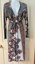 Moss & Spy Black Red White Stretchy Deep V Neck Dress Sz 14 Australian Made