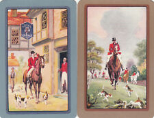 #156 2 (pair)  single vintage single playing swap cards - Horses Hunting   - JS