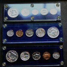 LOT 3 US 90% Silver Proof Sets, 1957, 1958, 1961, Nice Coins in Capital Plastic