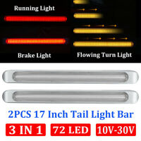 """2pcs Clear/(Red+Amber) 72 LED 17"""" Chrome Truck Trailer Stop Turn Tail Light Bar"""