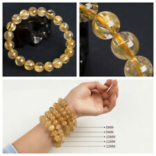 8mm Natural Gold Rutilated Quartz Crystal Round Beads Bracelet AAAAHigh quality