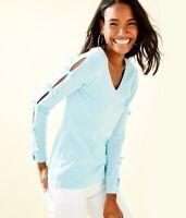 New NWT $128  Lilly Pulitzer Edina Sweater- Whisper Blue Bow Sleeves XS