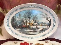 "Vintage Christmas Dinner Turkey Plate Platter Tray Service Serving 20.5"" x 15"""