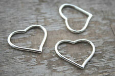 20 pcs Heart charms--Shiny Silver Heart Charm pendants,Connector 22x27mm