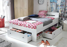 Great double bed with shelfs and drawers, white, with pocket spring MATTRESS