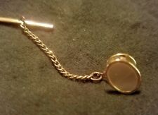 GENUINE OVAL MOTHER OF PEARL TIE TACK GOLD tone