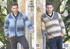 King Cole Super Chunky Knitting Pattern 4292: Easy Knit Mens Sweater & Cardigan