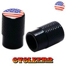 2 Black Billet Knurled Tire Valve Cap Motorcycle - USA FLAG - 021