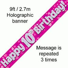 Happy 10th Birthday Pink Hearts Holographic 9ft Banner