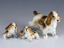 Vintage Set of 3 Bone China Miniature Cocker Spaniel Dog Figurines Matte Japan