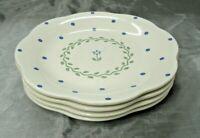 "Pfaltzgraff CLOVERHILL FLORAL Set of 4-8 1/2"" Salad Plates Scalloped Edge USA"