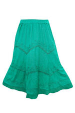 MEDIEVAL SKIRT WOMEN EMBROIDERED RAYON GREEN BOHO HIPPY GYPSY FLIRTY SKIRT