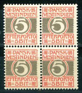 Danish West Indies DWI: Scott J5 4-block, no gum / AFA DVI Po 5 4-blok, (*)