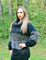 Hand Knitted Mohair Wool SWEATER Fuzzy Soft T-Neck Pullover Women's Blouse 106