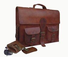 Large Real Goat Leather Vintage Brown Messenger Shoulder Laptop Bag Brief case