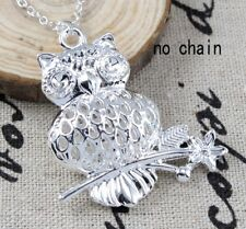 Upscale Women Men 925 Silver Owl Foot Pedal Shape Animal Hollow Pendants Jewelry