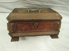 Antique Chip Carved Americana Wood Tramp Art Pedestal Footed Box Dresser Trinket