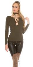 Sexy V Cut Shirt Pullover Pulli mit geschnürtem V Ausschnitt Khaki 34 36 38