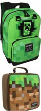 """MINECRAFT 17"""" Laptop Backpack Creeper Green Pickaxe Grey Mini Kids Lunch Box NEW"""