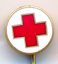 1940s Estonia Red Cross Member Aid Small Long Pin Enamel Badge 10 mm