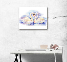 Lake Swans Love Abstract Art Poster Printed Canvas Painting Home Wall Decor