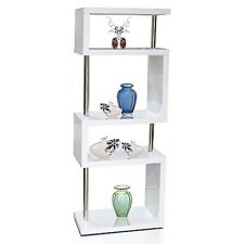 Modern Designer Tall Square Gloss White Shelving Unit#Brand New