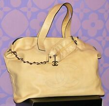 CHANEL Edgy Beige HUGE CC LOGO XL-XXL 2-Way C/B Quilted SHW Travel Tote Bag RARE
