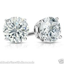 2 Ct Round Created Diamond Stud Earrings Real 14K White Gold Basket Screw Back