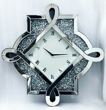 Glitzer Wanduhr Silber Mirrorred Diamant Zerdrücken Kristall Groß 59.8cmx59.8cm