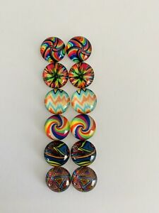 6 Pairs Of 12mm Glass Cabochons #853