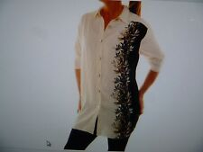 NWT We Be Bop Elegant BAMBOO Flat Patterned Tunic Top Blouse Off White Size1X/2X
