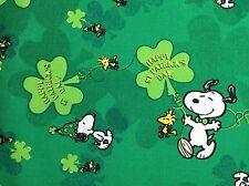 """Peanuts Snoopy Green Shamrock St Patrick's Day Cotton Quilt Fabric 1yd + 33"""" NEW"""