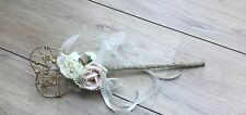 FLOWERGRIL WAND BLUSH  VINTAGE PINK IVORY HESSIAN BURLAP PEARLS  GOLD HEART
