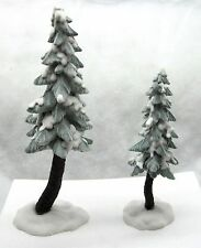 Brand New! Dept. 56 Flocked Pine Trees Set of 2 North Pole 56715