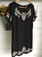 Lulus Shift and Shout Womens Black Dress Short Sleeve Size L