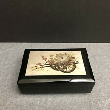 VTG Chokin Wheelbarrow Flowers Black Lacquerware Music Jewelry Box Japan *Works*