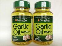 Bottles Puritan's Pride Garlic Oil 1000 mg (200 gels)  Made In USA
