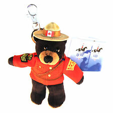 "Stuffed Animal House 5"" Mini RCMP Black Bear Police Keychain Zipper Pull Toy NWT"