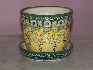 Polish Pottery Small Flower Pot w Saucer! UNIKAT Signature Exclusive Miss Daisy!