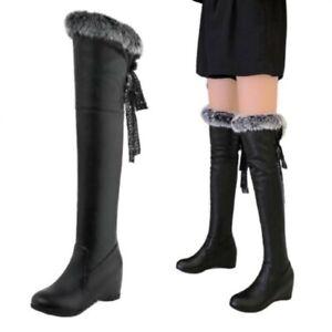 Women Snow Winter Warm Fur Trim Wedge Heel Over Knee High Boots chic Outdoor