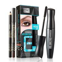 2 Stück Menow Schwarz Maskara+Eyeliner Augenbraue Bleistifte Wimpern Makeup E1E0